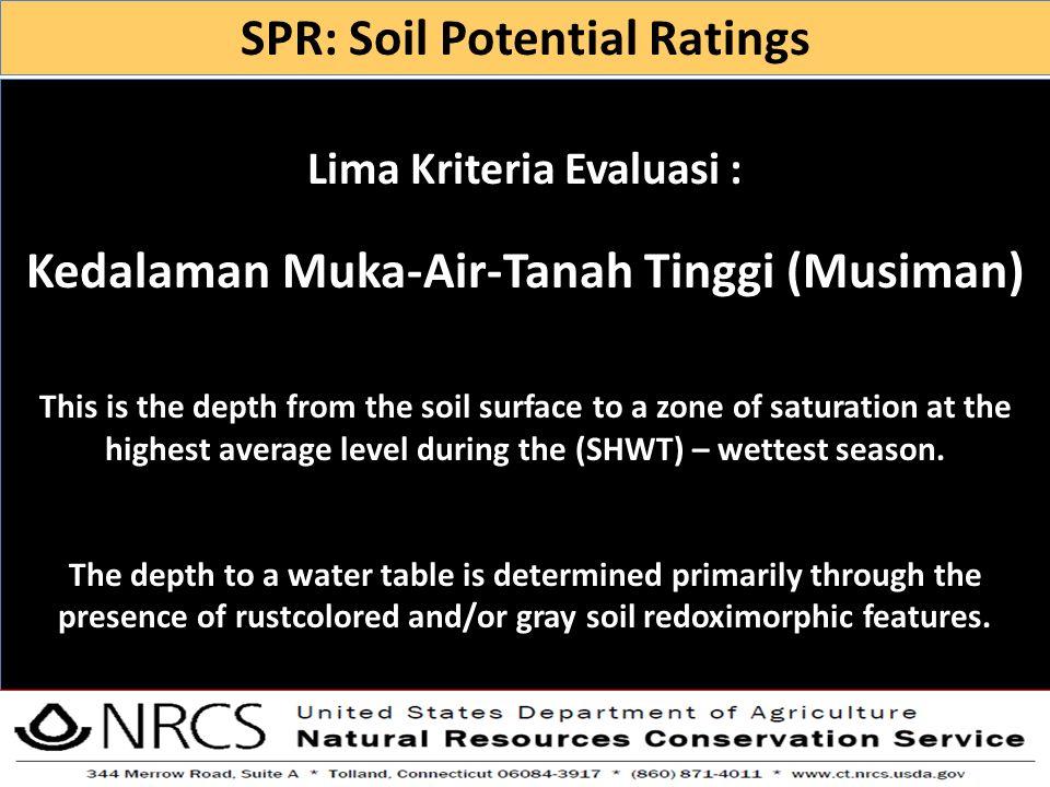 SPR: Soil Potential Ratings Kedalaman Muka-Air-Tanah Tinggi (Musiman)