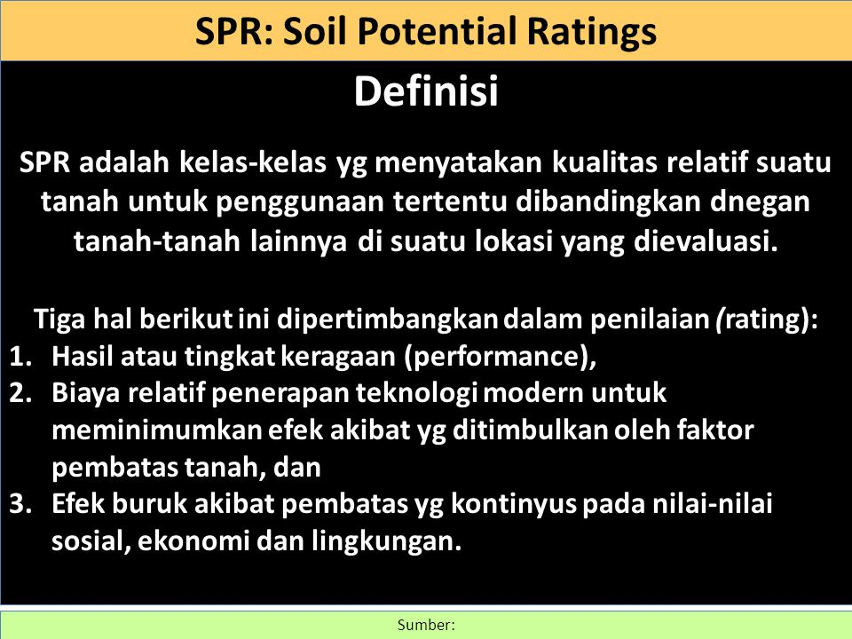 Definisi SPR: Soil Potential Ratings