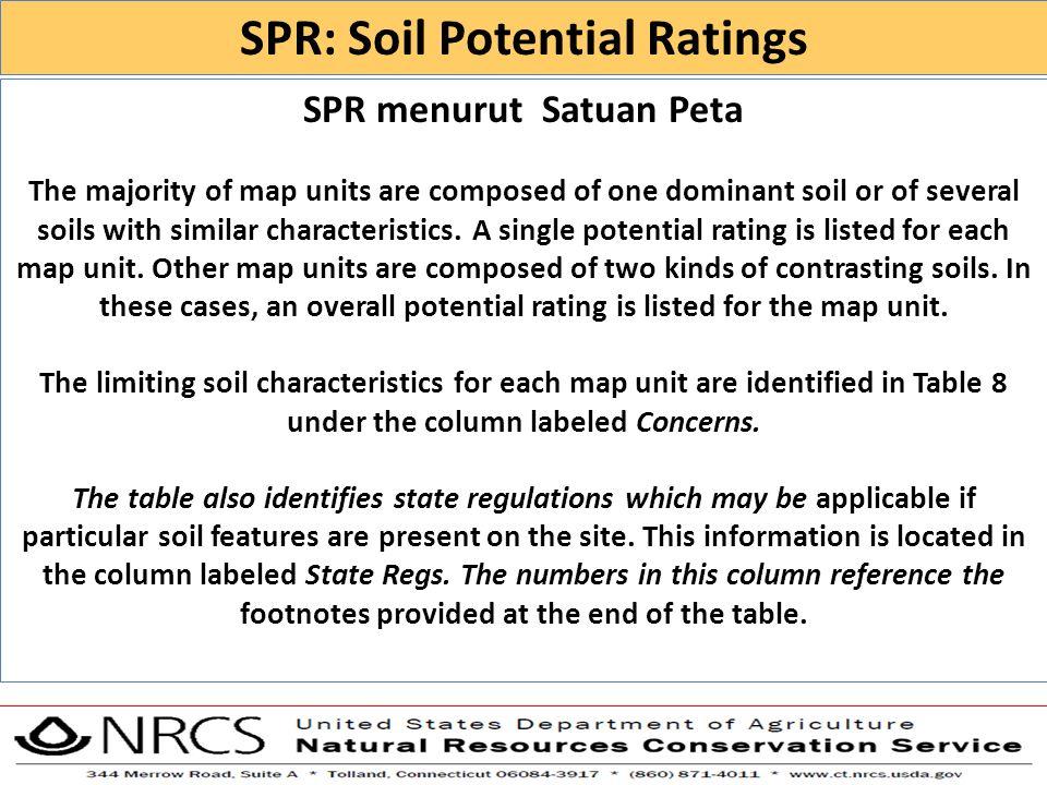 SPR: Soil Potential Ratings SPR menurut Satuan Peta