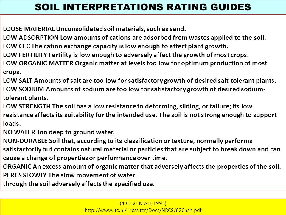 SOIL INTERPRETATIONS RATING GUIDES