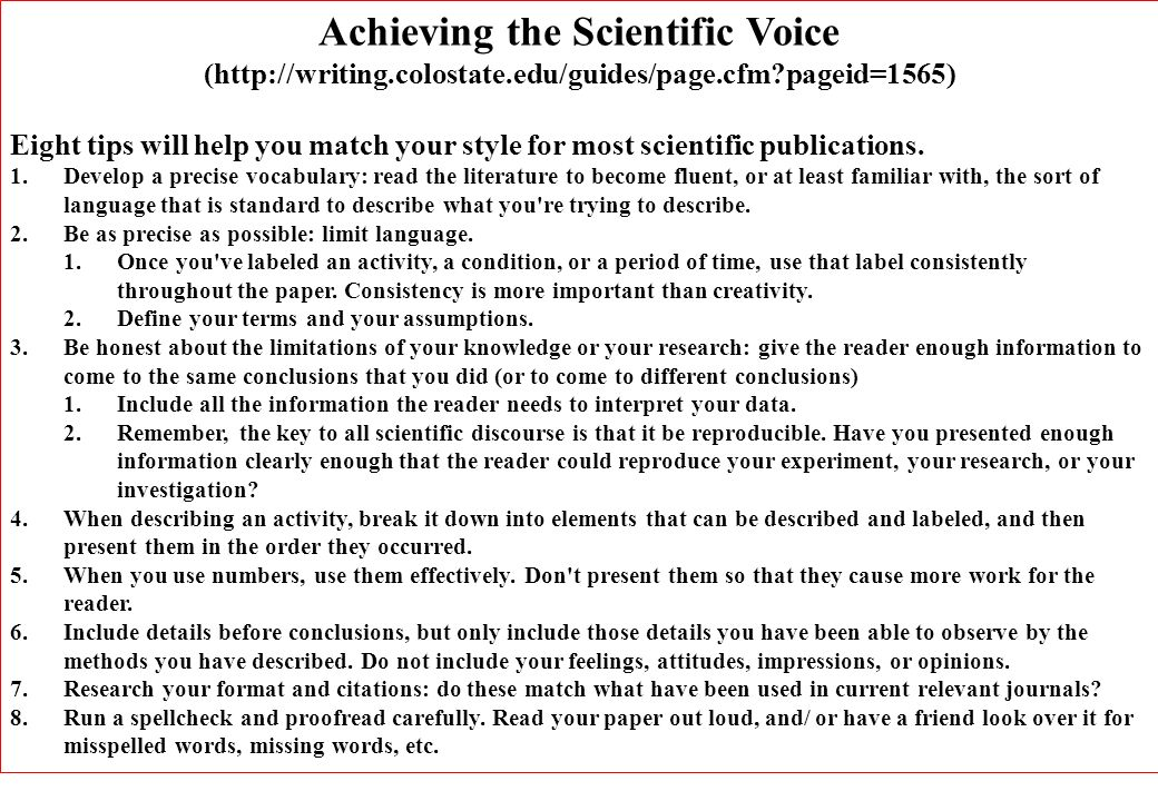Achieving the Scientific Voice