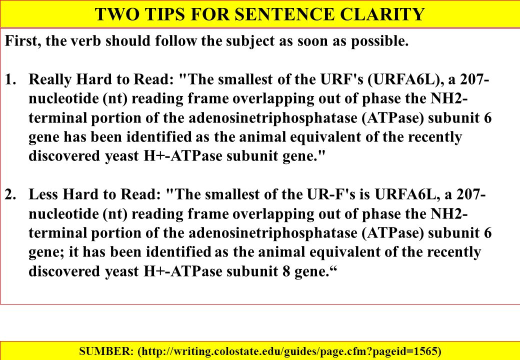 TWO TIPS FOR SENTENCE CLARITY