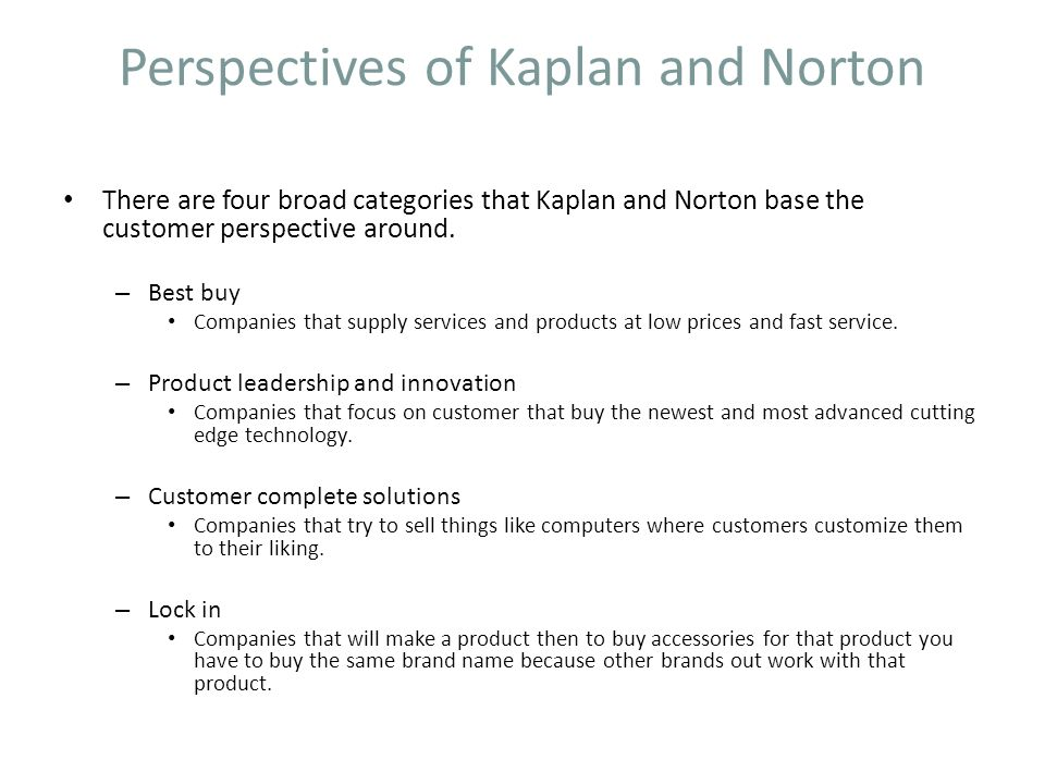 Perspectives of Kaplan and Norton