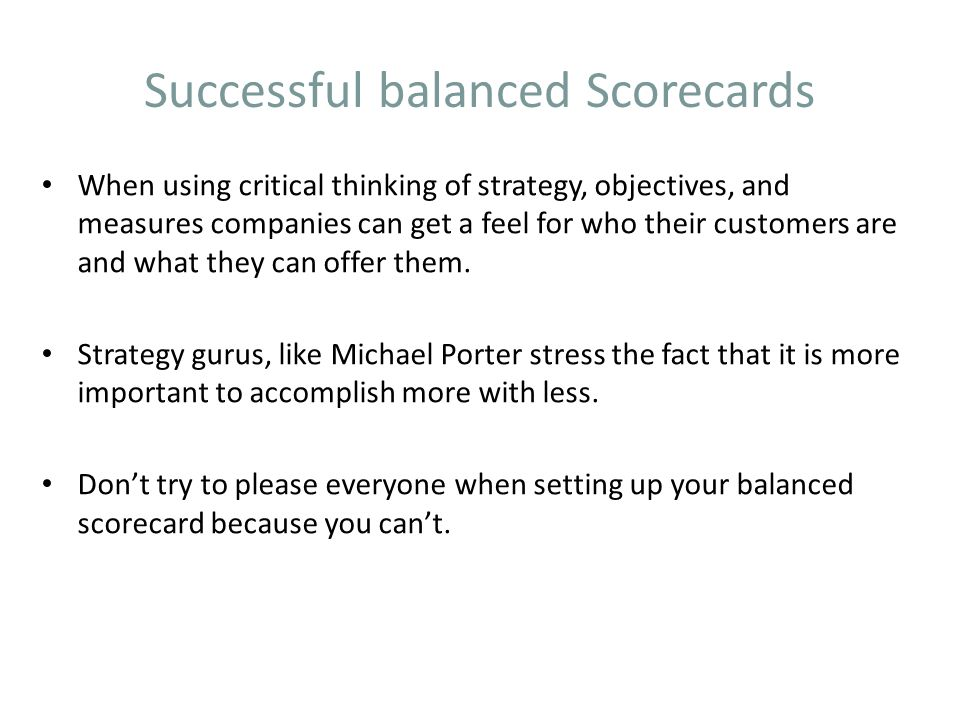 Successful balanced Scorecards