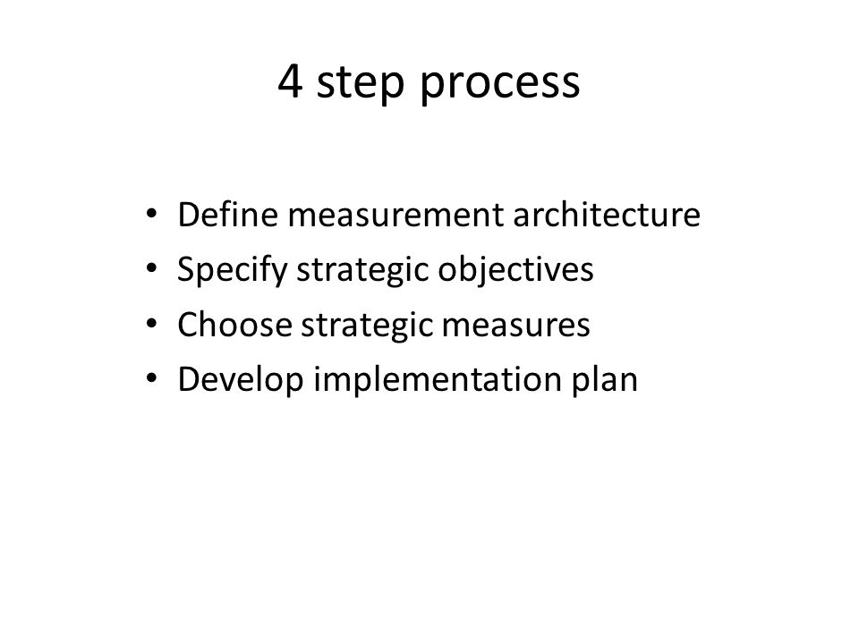 4 step process Define measurement architecture