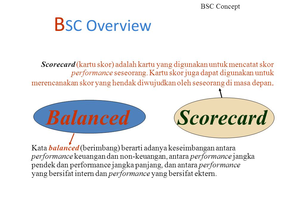 BSC Overview Balanced Scorecard