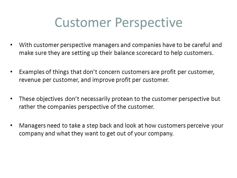 Customer Perspective