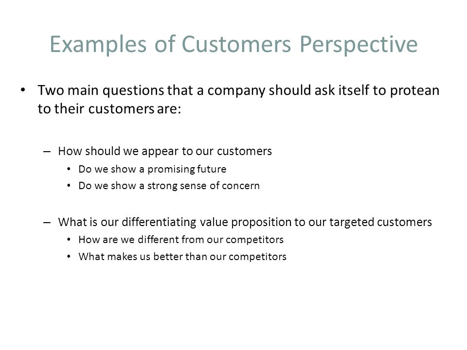 Examples of Customers Perspective