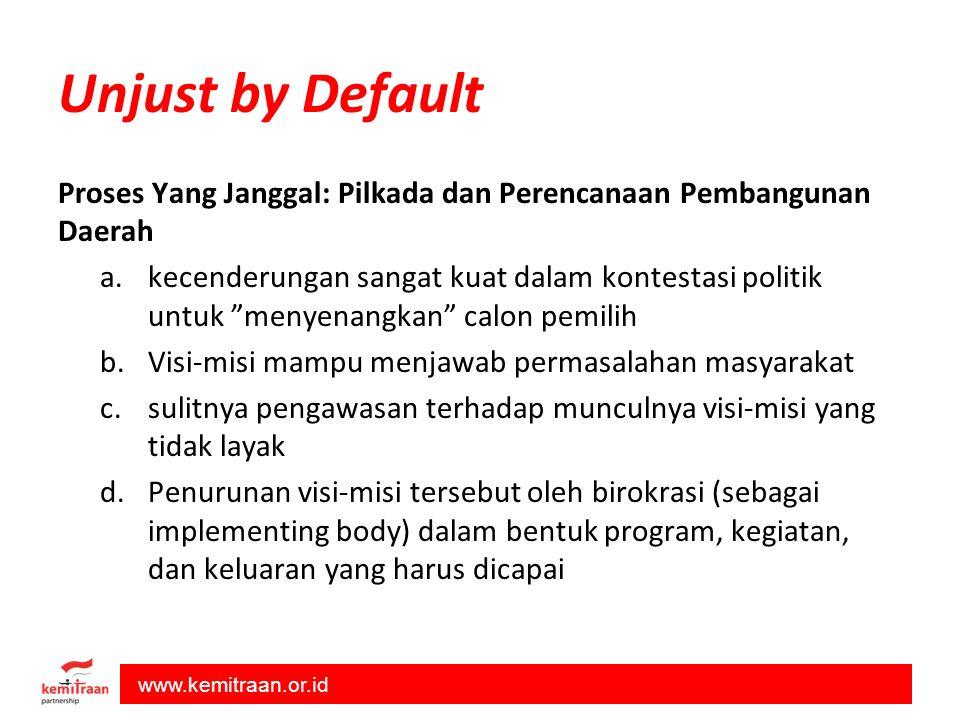 Unjust by Default Proses Yang Janggal: Pilkada dan Perencanaan Pembangunan Daerah.