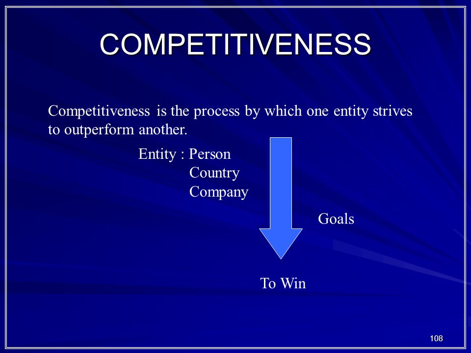 COMPETITIVENESS Competitiveness is the process by which one entity strives to outperform another. Entity : Person.