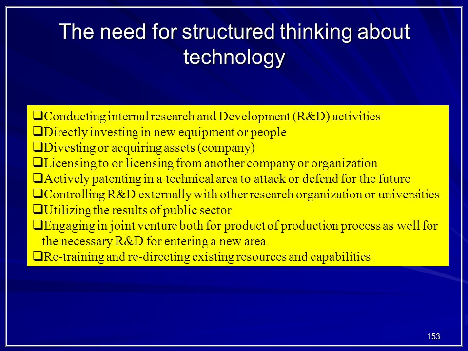 The need for structured thinking about technology