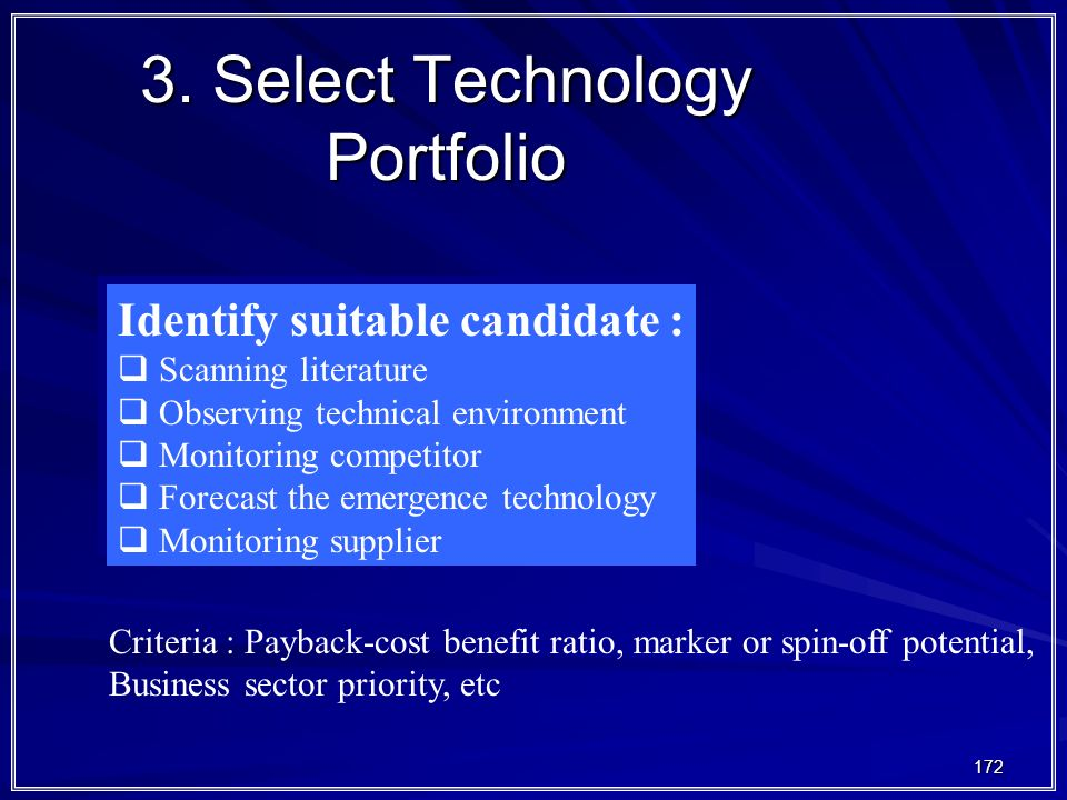 3. Select Technology Portfolio