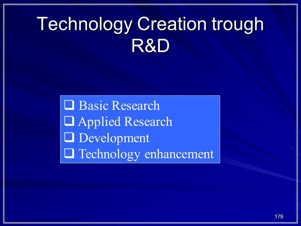 Technology Creation trough R&D