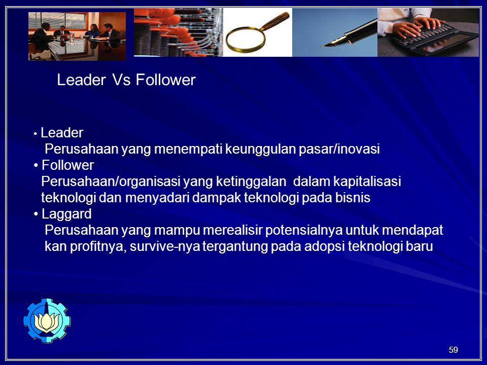 Leader Vs Follower Perusahaan yang menempati keunggulan pasar/inovasi