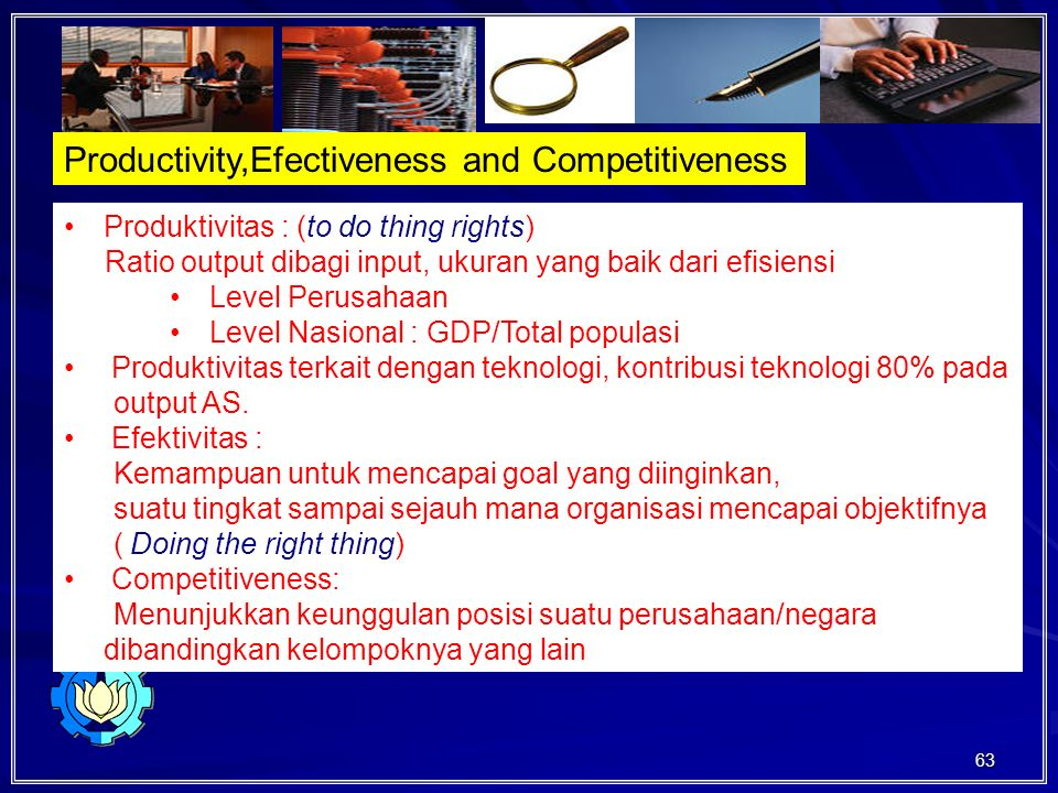 Productivity,Efectiveness and Competitiveness