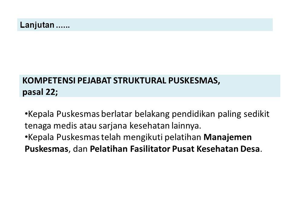 KOMPETENSI PEJABAT STRUKTURAL PUSKESMAS, pasal 22;