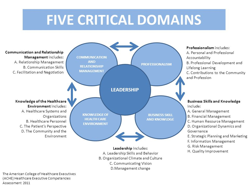 FIVE CRITICAL DOMAINS LEADERSHIP Professionalism includes: