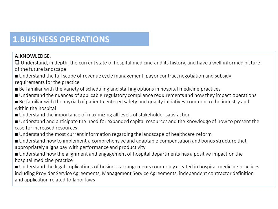 1.BUSINESS OPERATIONS A.KNOWLEDGE,