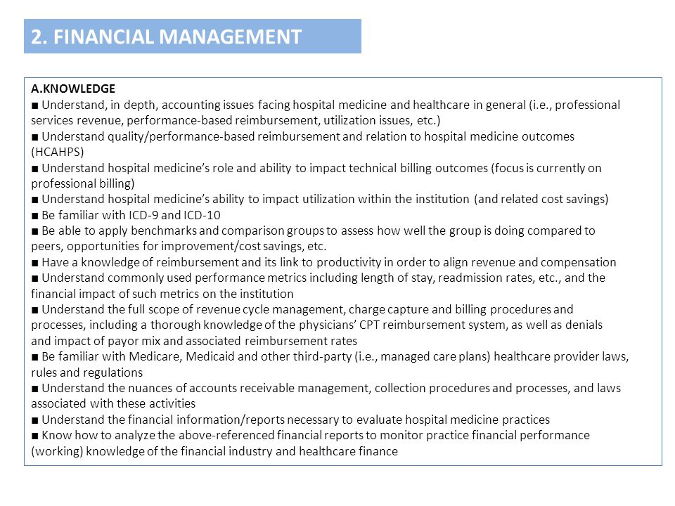 2. FINANCIAL MANAGEMENT A.KNOWLEDGE