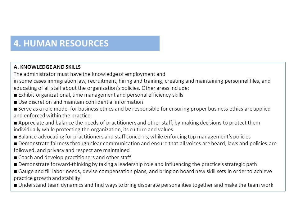 4. HUMAN RESOURCES A. KNOWLEDGE AND SKILLS
