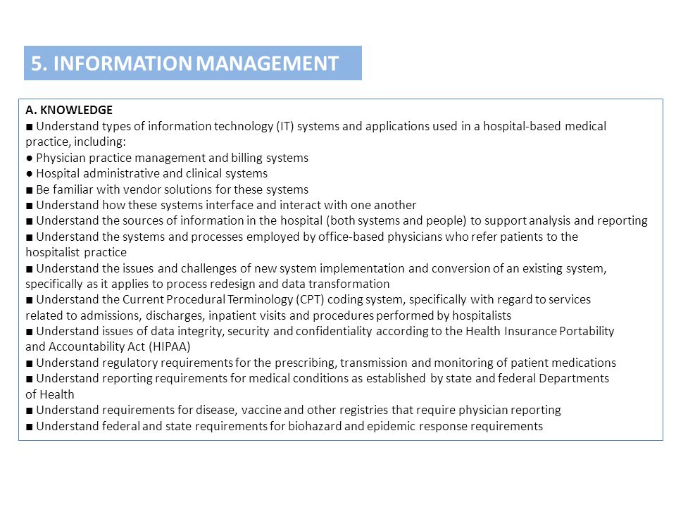 5. INFORMATION MANAGEMENT