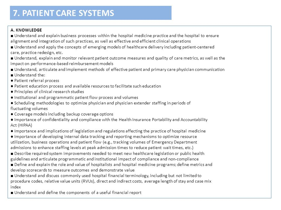 7. PATIENT CARE SYSTEMS A. KNOWLEDGE