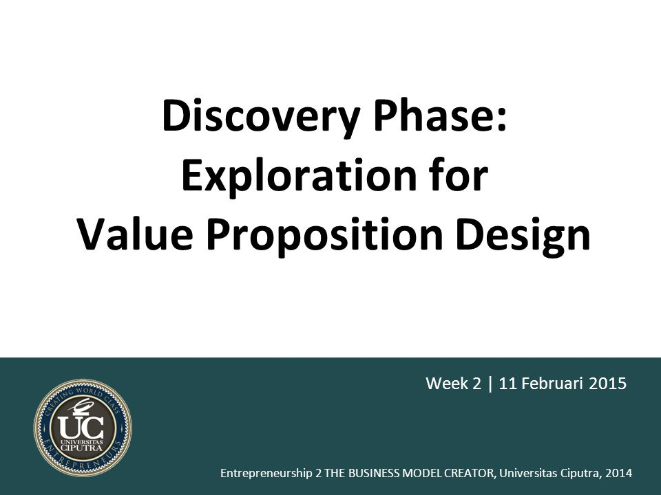 Discovery Phase: Exploration for Value Proposition Design