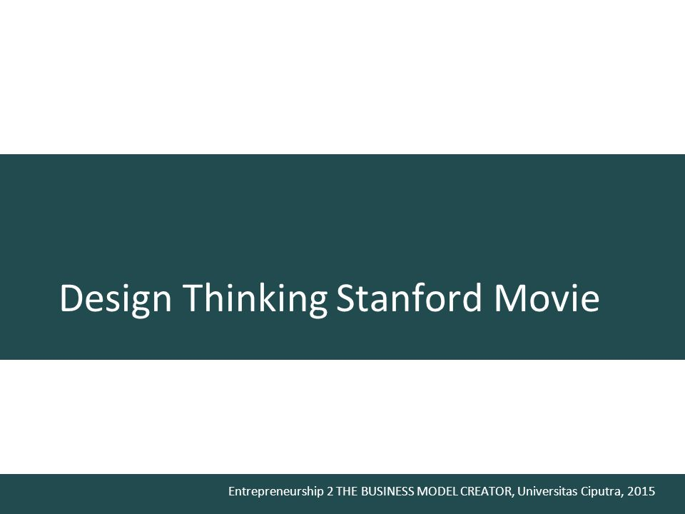 Design Thinking Stanford Movie