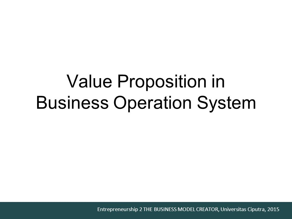 Value Proposition in Business Operation System