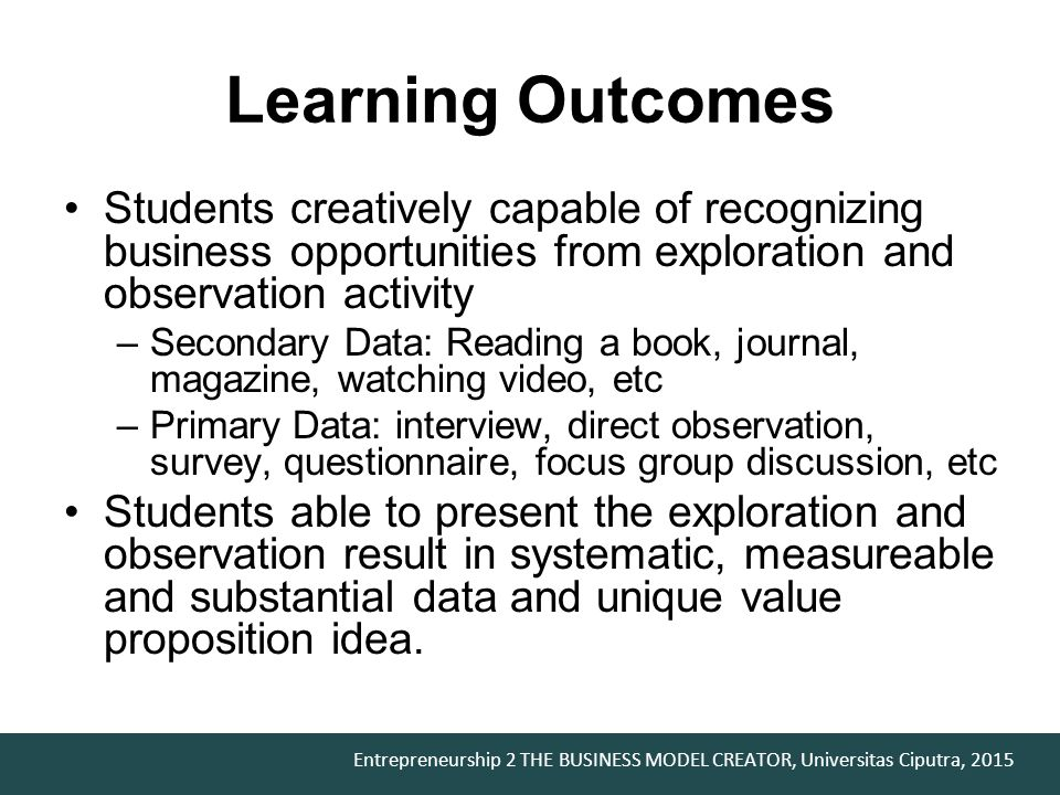 Learning Outcomes Students creatively capable of recognizing business opportunities from exploration and observation activity.