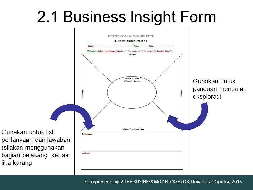 2.1 Business Insight Form Gunakan untuk panduan mencatat eksplorasi