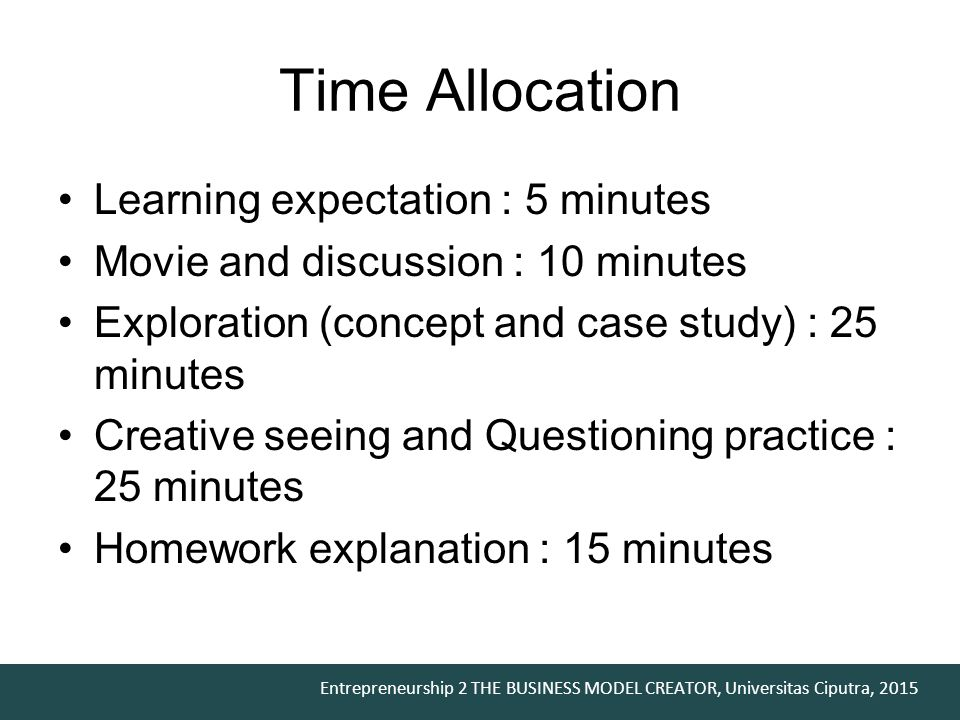 Time Allocation Learning expectation : 5 minutes