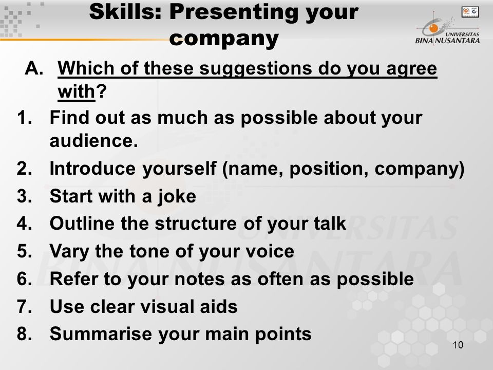 Skills: Presenting your company