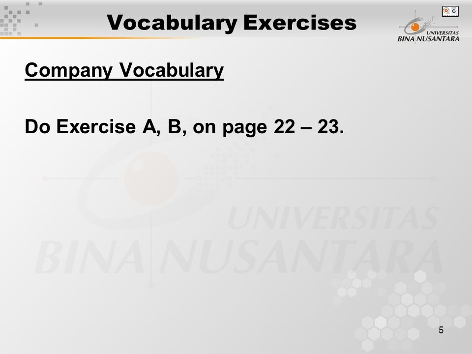 Vocabulary Exercises Company Vocabulary