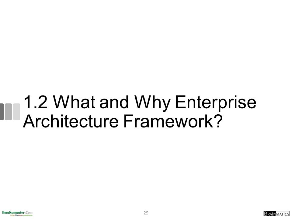 1.2 What and Why Enterprise Architecture Framework