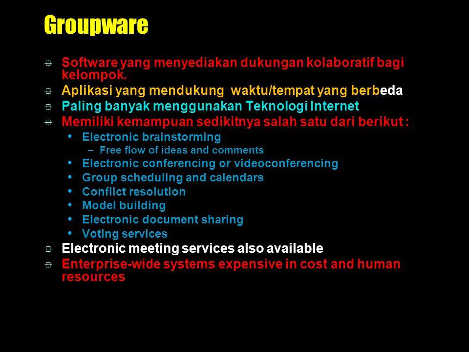 Groupware Software yang menyediakan dukungan kolaboratif bagi kelompok. Aplikasi yang mendukung waktu/tempat yang berbeda.