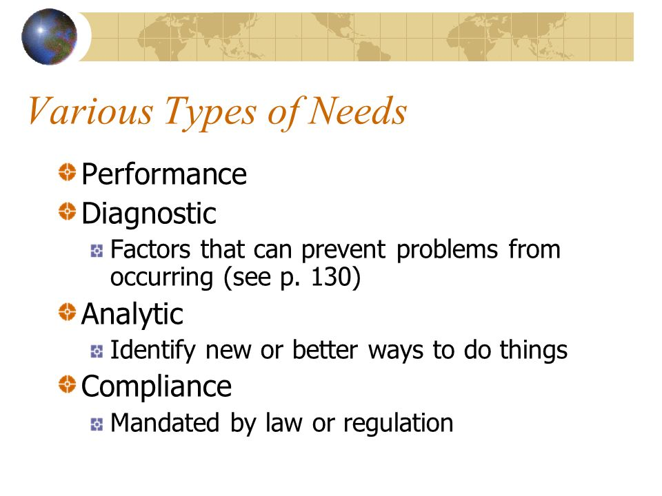 Various Types of Needs Performance Diagnostic Analytic Compliance