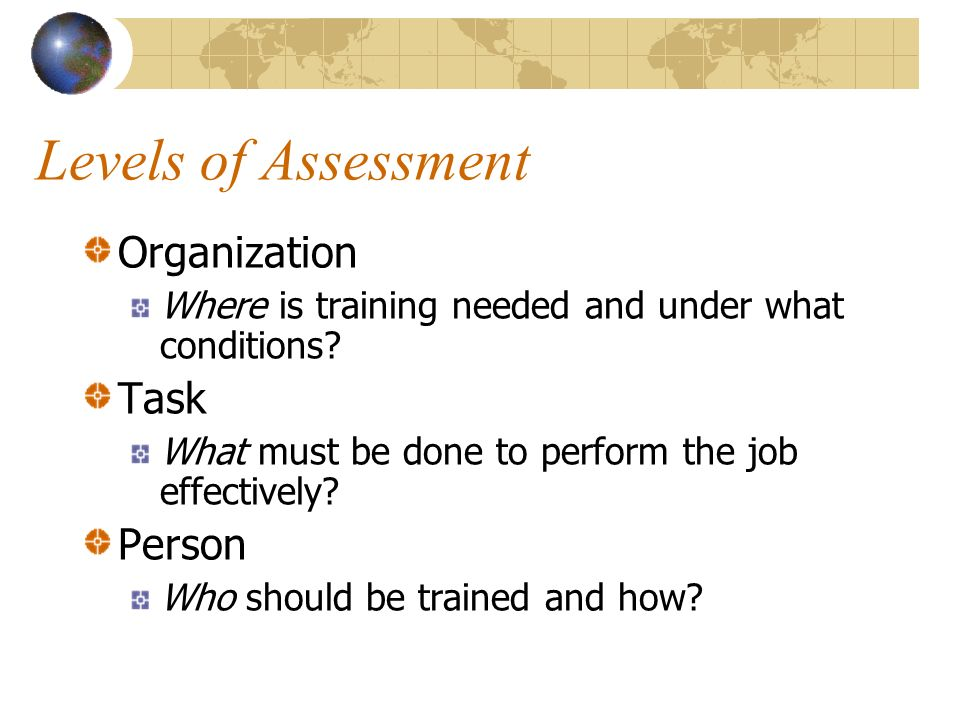Levels of Assessment Organization Task Person