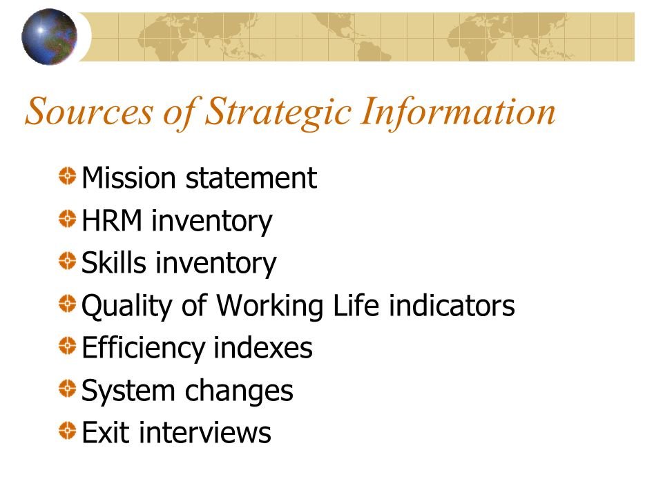 Sources of Strategic Information