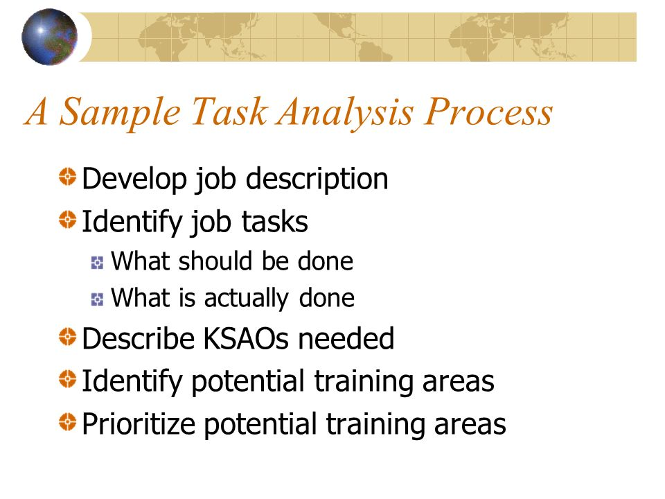 A Sample Task Analysis Process