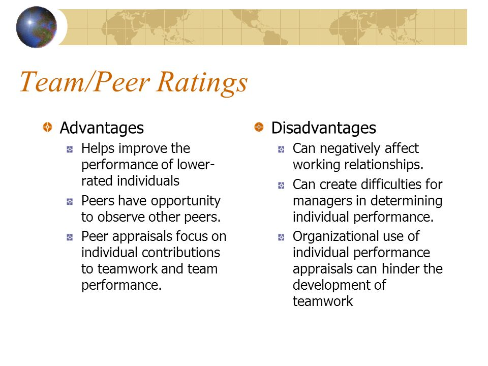 Team/Peer Ratings Advantages Disadvantages