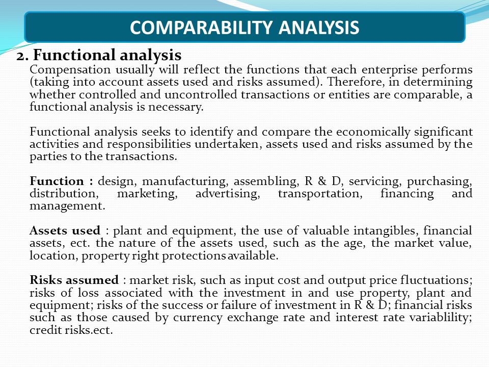 COMPARABILITY ANALYSIS
