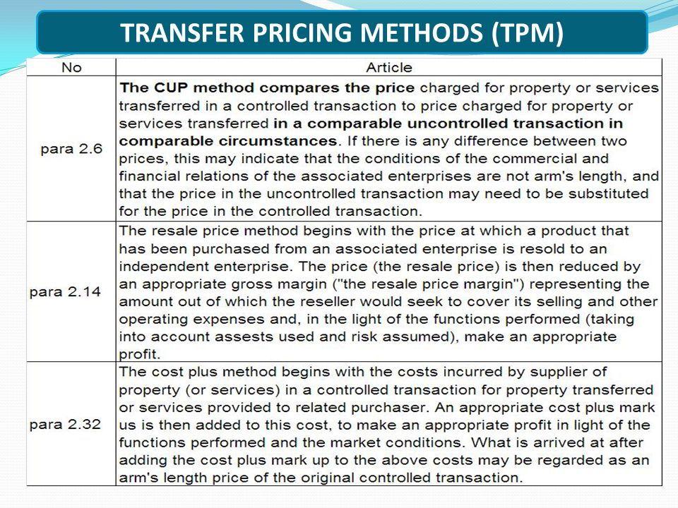 TRANSFER PRICING METHODS (TPM)