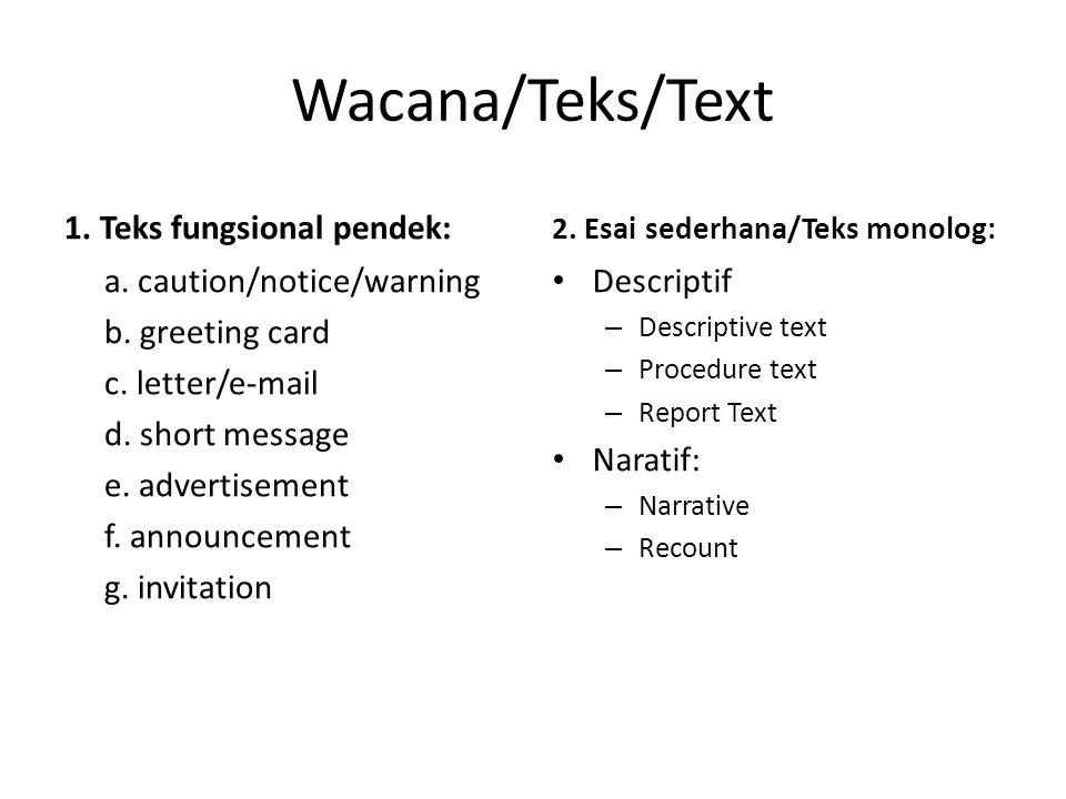 Wacana/Teks/Text 1. Teks fungsional pendek: