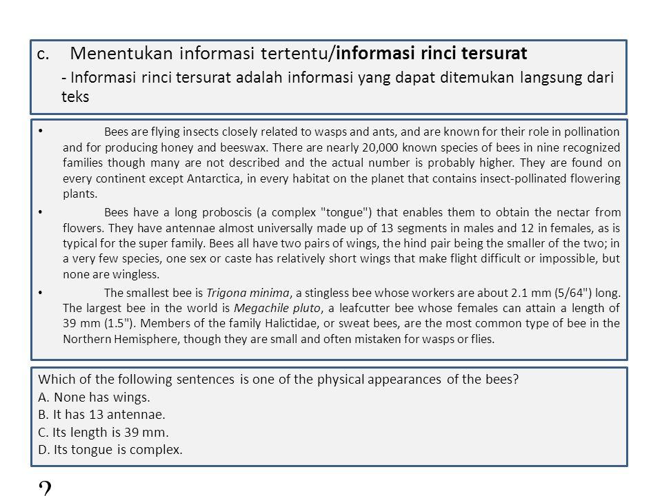 Menentukan informasi tertentu/informasi rinci tersurat