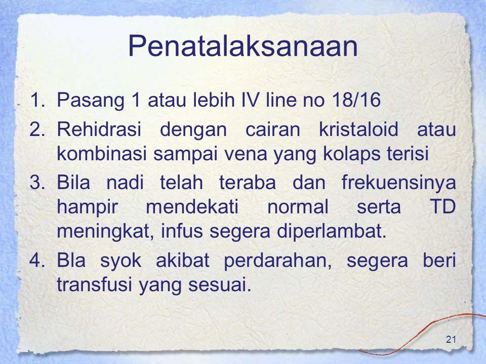 Penatalaksanaan Pasang 1 atau lebih IV line no 18/16