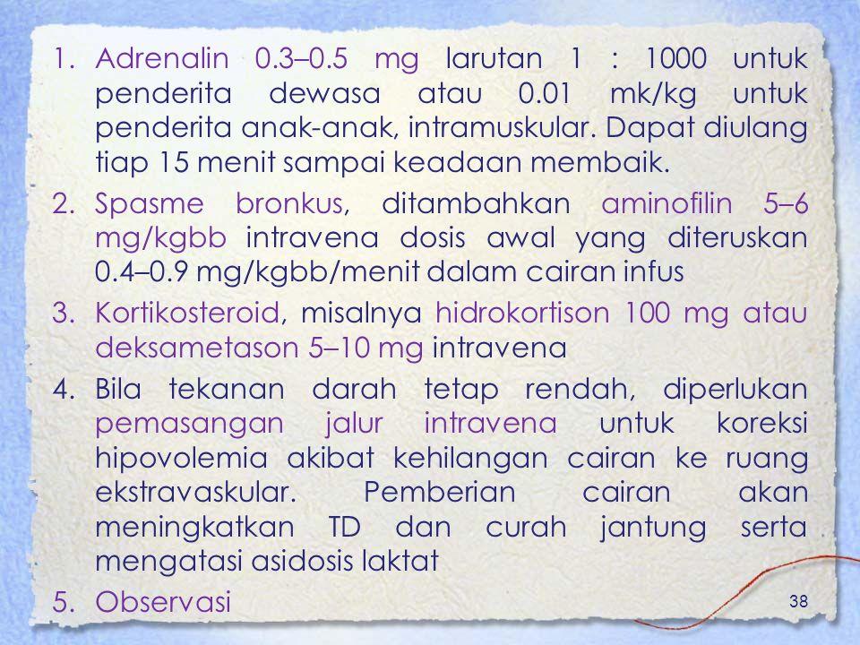 Adrenalin 0. 3–0. 5 mg larutan 1 : 1000 untuk penderita dewasa atau 0