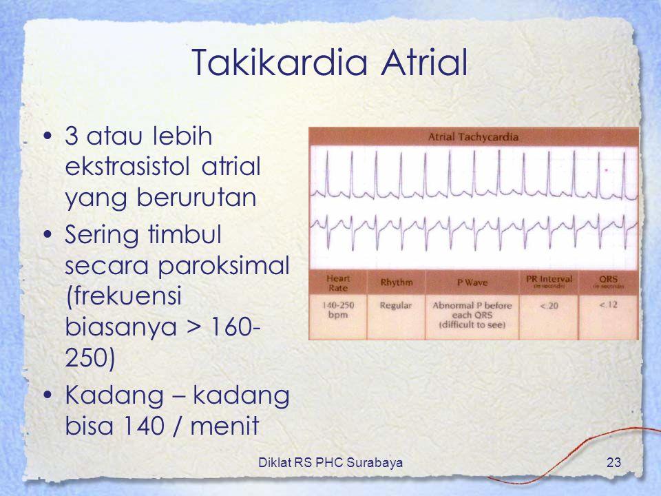 Takikardia Atrial 3 atau lebih ekstrasistol atrial yang berurutan