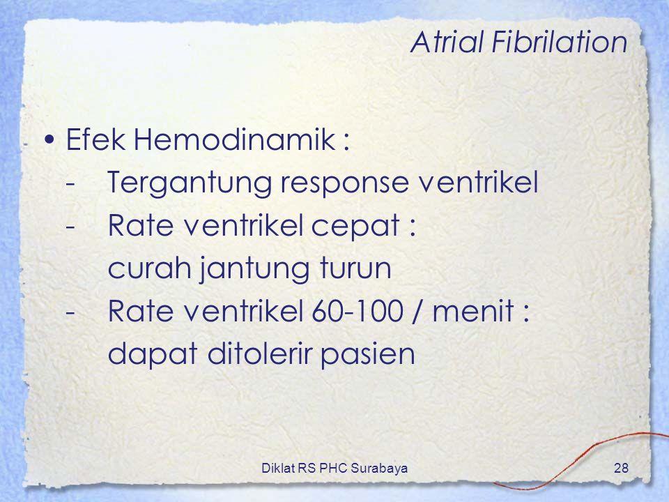 - Tergantung response ventrikel - Rate ventrikel cepat :