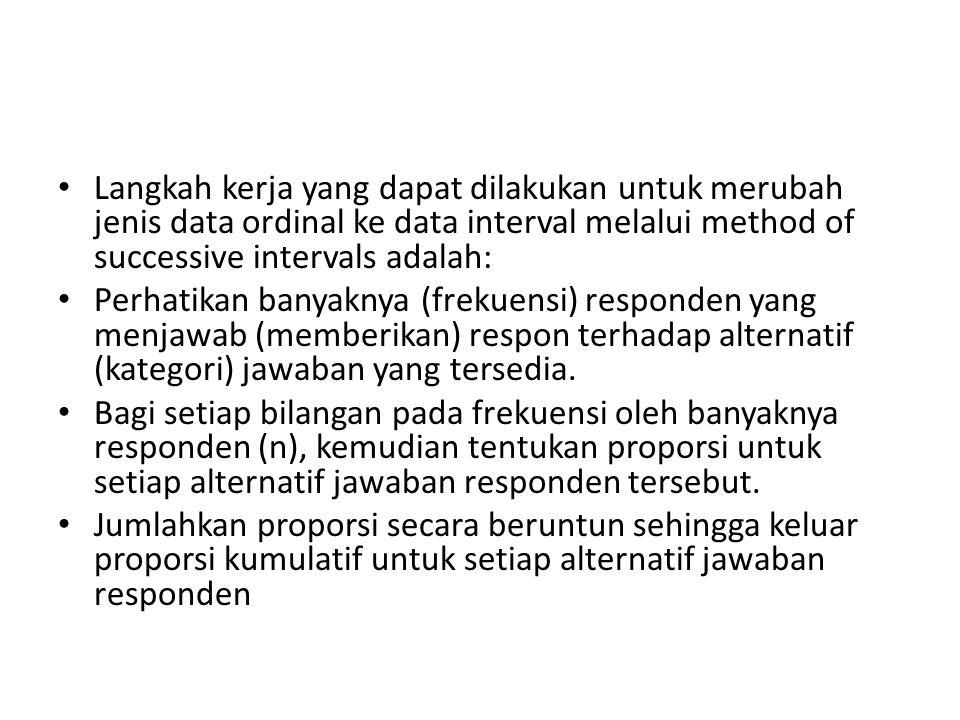 Langkah kerja yang dapat dilakukan untuk merubah jenis data ordinal ke data interval melalui method of successive intervals adalah: